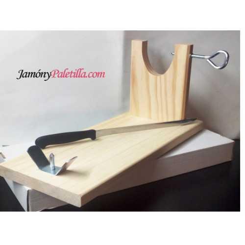"""Soporte Jamonero """"Banco"""" con cuchillo - practico y resistente"""