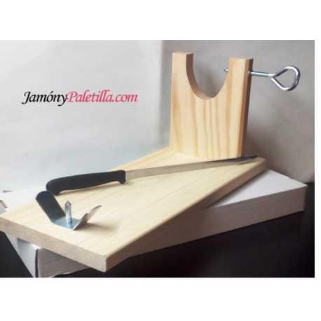 """Jamonero """"Banco"""" con cuchillo - practico y resistente"""