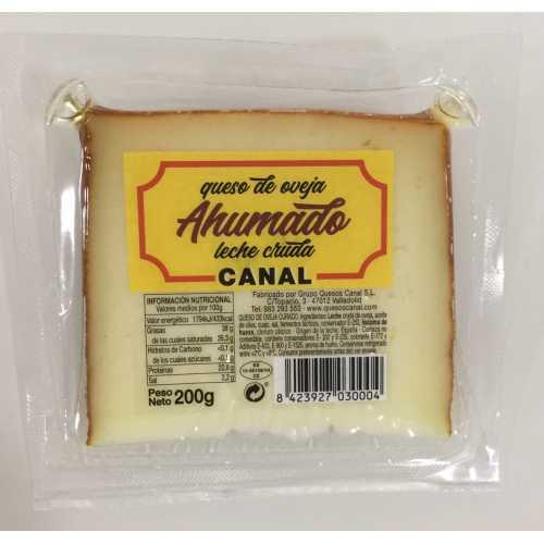 """DTO.20% - QUESO OVEJA CURADO """"AHUMADO"""" -- CANAL -- leche cruda-cuña 200 grs."""