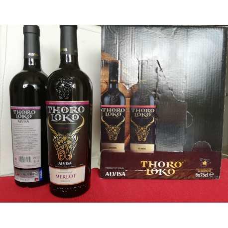 - MERLOT - ROBLE 2014 - VINO THORO LOKO TINTO - D.O. La Mancha - Bodegas ALVISA - caja 6 botellas 75 cl.
